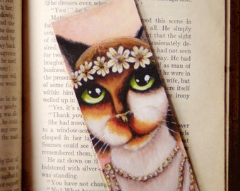 Daisy Cat Bookmark Calico Cat Great Gatsby Roaring 1920s Inspired Cat Bookmark
