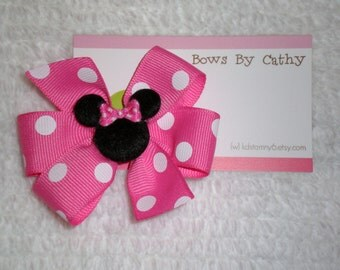 Hot Pink Minnie Mouse Bow - Minnie Mouse Bow - Small Hair Bow - Toddler Hair Bow - Baby Hair Bow - Minnie Mouse Birthday Bow