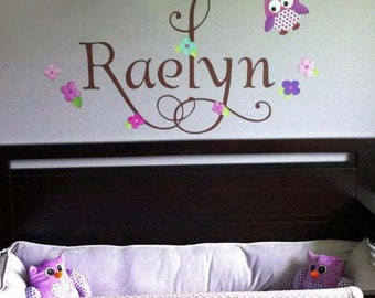 Fabric WALL NAME DECALS Owls Love Birdies in Purple and Teal Girls Bedroom Baby Nursery Wall Name Decal