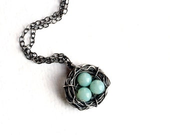 Bird's Nest Necklace, Amazonite, Oxidized Sterling Silver - Bluebird by CircesHouse on Etsy