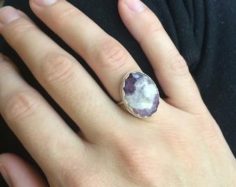 Amethyst Stone Ring, Amethyst Jewelry, Amethyst Ring, Amethyst, Stone Ring, Silver Ring, Amethyst Ring, Banded Amethyst,