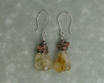 Dragon and citrine silver earrings copper recycled white copper DTPD