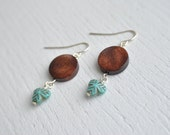 Wood and Glass Earrings