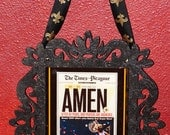 Amen Saints Superbowl New Orleans black w/ gold glitter framed wall art