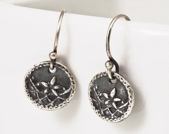 Silver Flower Earrings Tiny Victorian Antique Button Earrings Artisan Made with Eco Friendly Silver