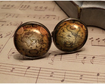 Old World Map Cufflinks - Silver or Antique Bronze cufflinks - Great gift for the man in your life - Birthday gift, Fathers Day Gift