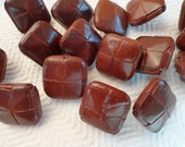 Leather Vintage Blazer Buttons - 6 Milk Chocolate Bown