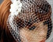 White Handcrafted Bridal Wedding Swarovski Crystal Floral Flower Birdcage Veil