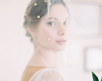 """Romantic soft blusher veil with scattered detailing and pearls """"Campbell"""""""