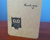 Owl on Kraft Thank You Notes - Set of 6 (Made to Order)