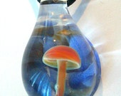 Blown Glass Mushroom Pendant Lavender Blue Swirl with Caramel Shroom Necklace