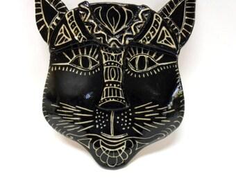 Black Kitty Ceramic Mask-Black and White- Diva Kitty Ceramic Wall Mask-Ceramic Cat Mask-Wall art