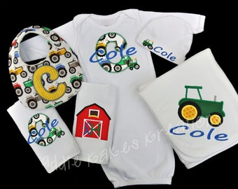 Personalized Farm Tractor Themed Baby Gift Set / Gown, Cap, Blanket, 2 Burpcloths and Bib