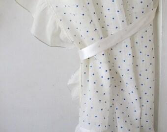 Vintage Blue Stars Print Ruffled Tieback Sheer Curtains Kitchen Curtain