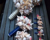 Beach Wedding Bouquets for Bride and Bridesmaids (Sandy Sugar Starfish Style). Made to Order with Custom Details