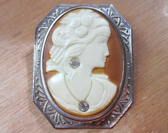 Antique 1920s Art Deco Cameo Brooch - Celluloid - Art Deco Jewelry - Antique - Habille - Silver Tone - Rhinestones