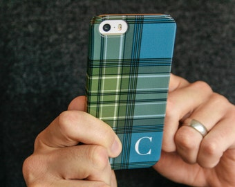 Personalized Phone Case, Plaid iPhone Case, Mens iPhone 7 Case Monogramed iPhone 6S, Blue and Green Tartan, iPhone 7 Plus, SE