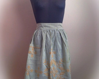 Vintage Green Gingham Apron with  Orange Embroidery