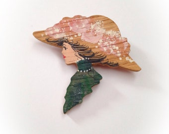 Vintage 1980s Wooden Gibson Girl Style Brooch