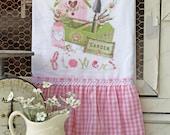 """Flour Sack Kitchen Towel...  Garden Cottage Farmhouse Ruffle """"Fresh Flowers""""- Spring birdhouse Shabby tools tote"""
