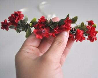 Amelia Red Ruffle Flower Hair Crown, Red Headband, Wedding Hair Crown by KimArt