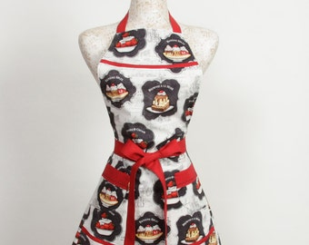 Dessert Apron- Navy Red and White