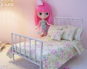 SALE...10 Piece Bed Linen Set for 1/6 Playscale Bed for Blythe, Pullip, or Barbie Size Dolls