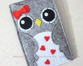 "iPhone sleeve, felt iPhone sleeve, iPhone case, felt iPhone case, iPhone bag, iPhone 5s sleeve, iPhone 5s case, ""red bow Owl design"""