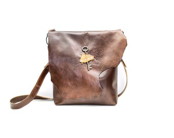 Brown Slouchy Leather Bag - Distressed Leather Messenger - Boho Satchel with Antique Key and Raw Edge