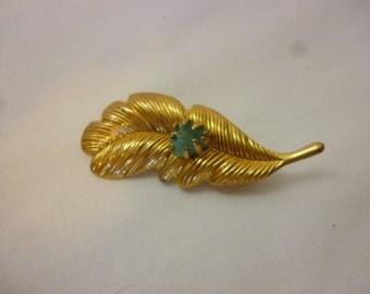 Vintage Goldtone Leaf Pin With Jade Stone