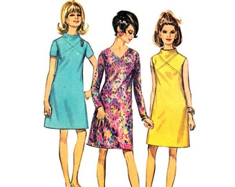 1960s Dress Pattern Simplicity 7720 Vintage A-Line Dress Seam Interest Womens Sewing Pattern Bust 34