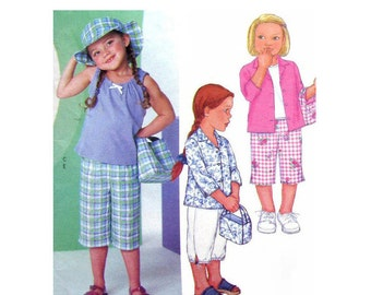 Girls Summer Pattern Shirt, Tank Top, Capri Pants, Hat, Bag Butterick 3043 Trousers Girls Sewing Pattern Size 2 3 4 5 UNCUT