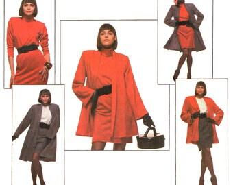 1980s Vintage Pattern Style 1368 Flared Swing Coat or Jacket Mini Dress Tunic & Skirt Womens Sewing Pattern Size 12 14 16 UNCUT