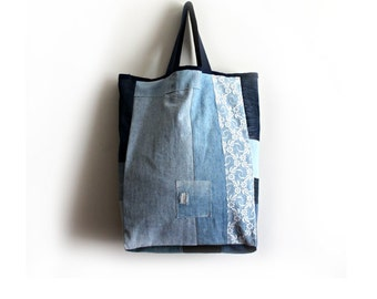 Large Tote Bag- Boho Beach Bag- Unique Handmade Bags- Canvas Tote- Jean Tote- Diaper Bag- Hippie Bags- Market Bag- Large Tote- Oversized Bag