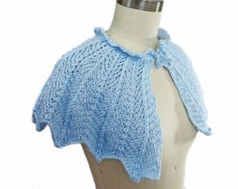 Baby Blue Wedding Capelet - Hand Knit - Bridal Capelet - Something Blue