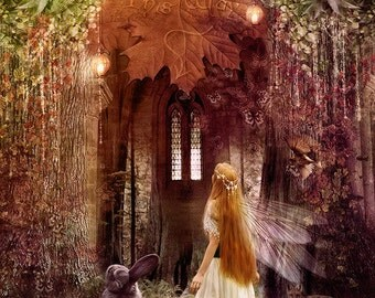 SALE Faerie Road 8 x 10 inch Fantasy Art Print Fairy Tale Painting