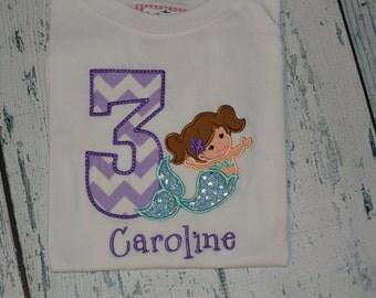 PERSONALIZED Mermaid Birthday Shirt  Custom Age - Monogram Birthday Shirt -  Under the Sea Party
