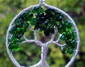 Rare Russian Chrome Diopside Tree of Life Pendant - May Birthstone - Recycled Sterling Silver