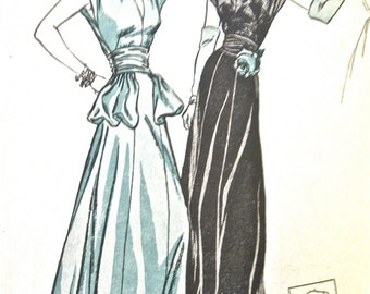1940s gown pattern by Butterick 3769 Vintage Sewing 40s Peplum Draped Dress Pattern   Bust 30