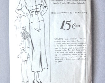 Vintage 1930s dress sewing pattern.  Advance 1451