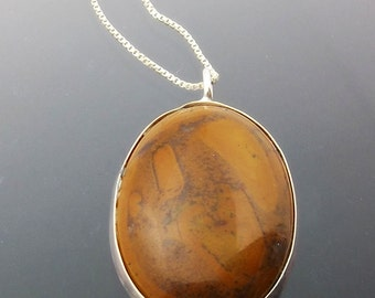 Bamboo Jasper Necklace with Sterling Silver Chain