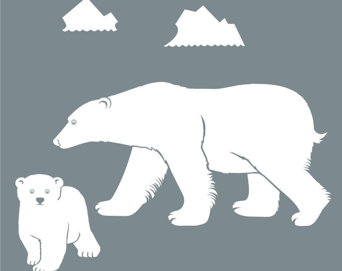polar bear wall decal, bear mother, bear cub sticker art, arctic vinyl decal, FREE SHIPPING