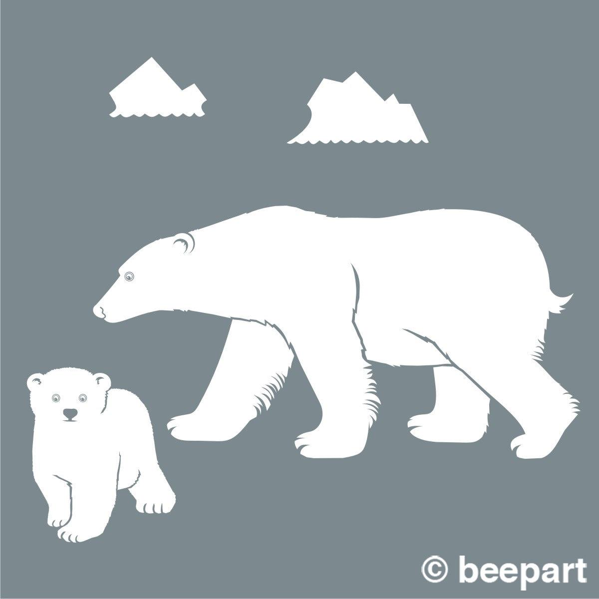 Polar Bear Wall Decal Bear Mother Bear Cub Sticker Art