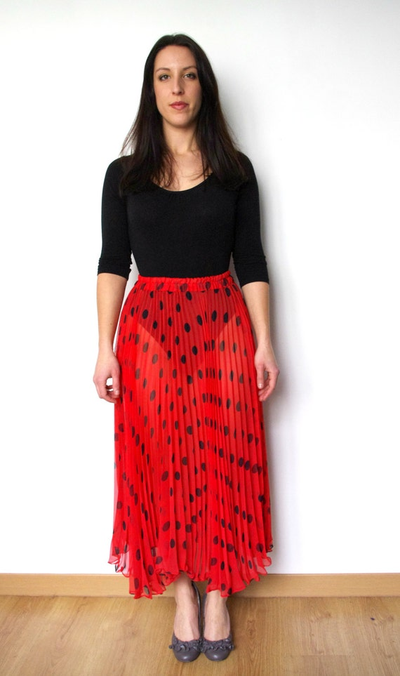 1980s red long pleated sheer transparent skirt with black polka dots - Ladybird