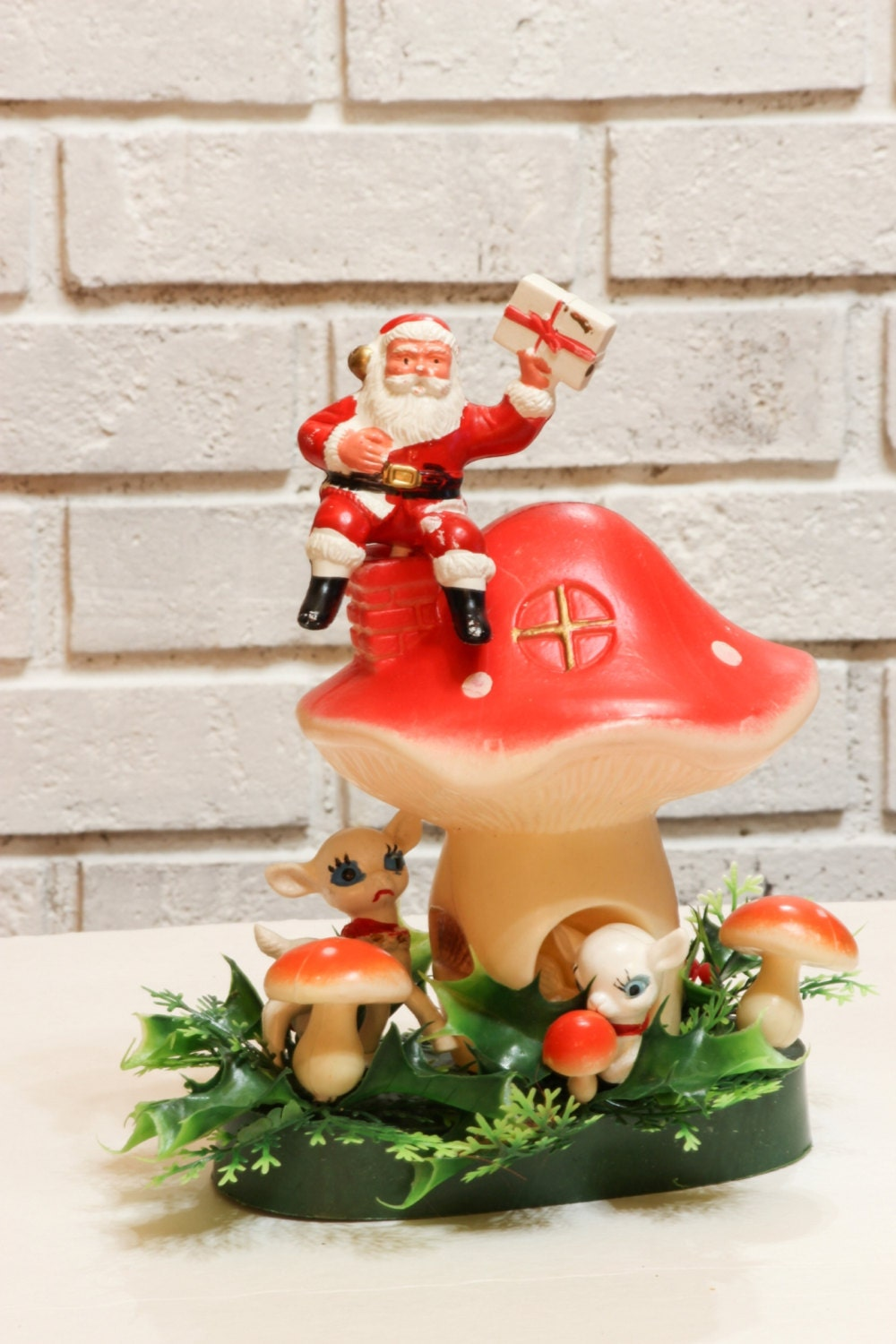 vintage christmas blow mold decor santa with deer on toadstool. Black Bedroom Furniture Sets. Home Design Ideas