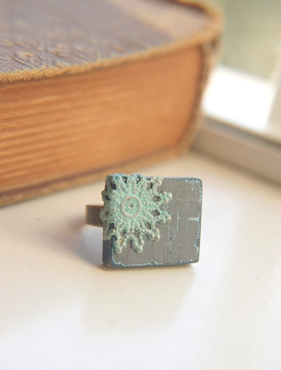 Cottage Chic Ring Charcoal Grey Patina Filigree Shabby Adjustable - Denim.