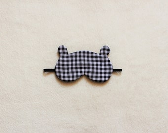 Gingham Bear Silk Sleep Eye Mask