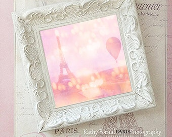 Paris Photography, Paris Pink Eiffel Tower With Frame, Eiffel Tower Hot Air Balloon, Paris Pink Framed Art, Pink Paris Eiffel Tower Decor
