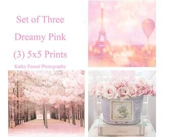 Baby Girl Nursery Decor, Shabby Chic Print Set Decor, Paris Baby Girl Nursery, Paris Shabby Chic Decor, Pink Nature Art, Baby Nursery Set