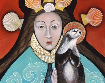 Queen of the Sea and the Otter Saint Standing on Urchin, Print from my Original Painting, Christina Miller Artist